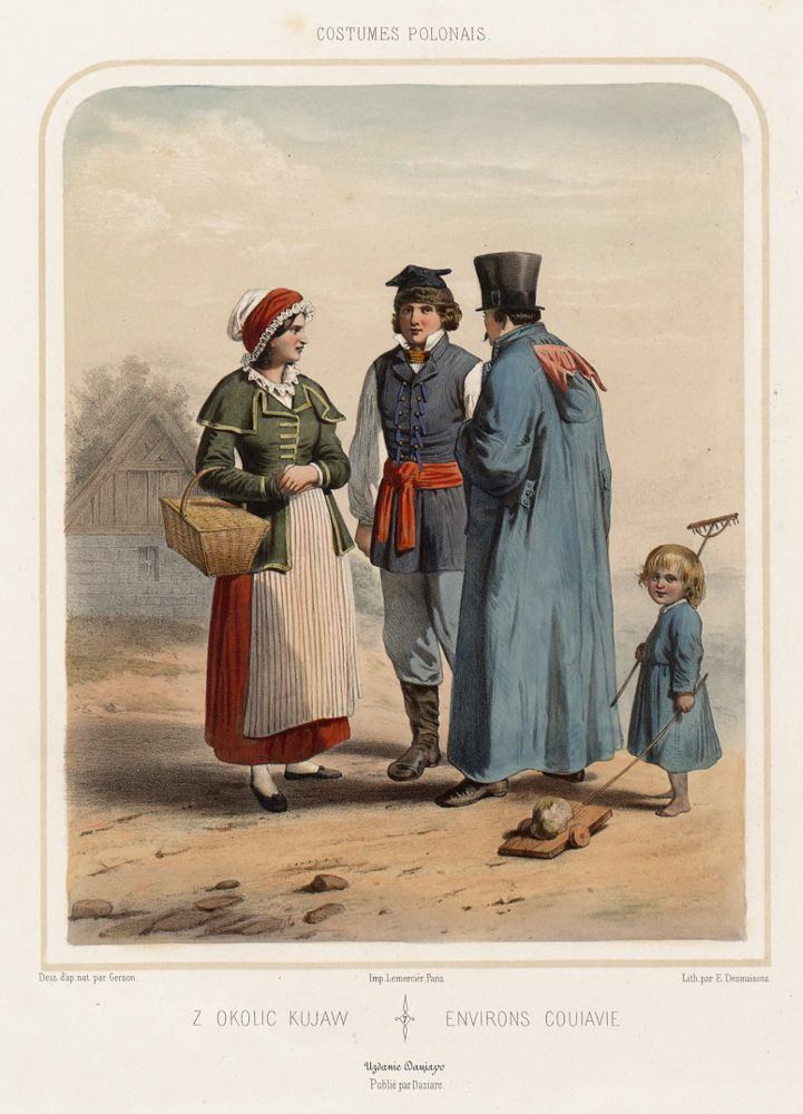 "Folk costumes from Kujawy region, Poland. Drawing by Wojciech Gerson in ""Costumes polonais (…)"", 1855."
