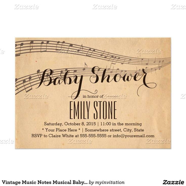 Vintage Music Notes Musical Baby Shower 5x7 Paper Invitation Card