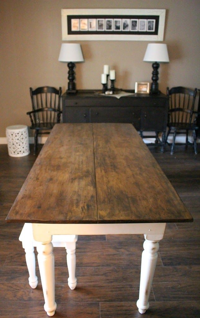 white table with wood top, refinishing an old farmhouse ...