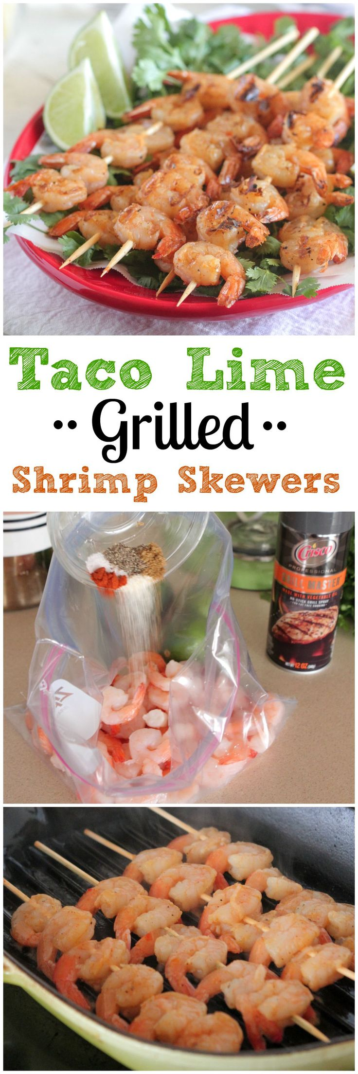 Taco Lime Grilled Shrimp Skewers.  Simple and tasty recipe done in minutes! #spon #shrimp #recipe