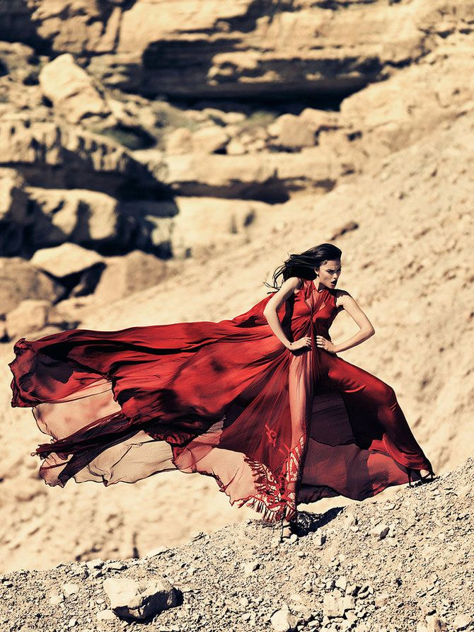 ♂ Fashion editorials photography lady in red feminine beauty dress flow