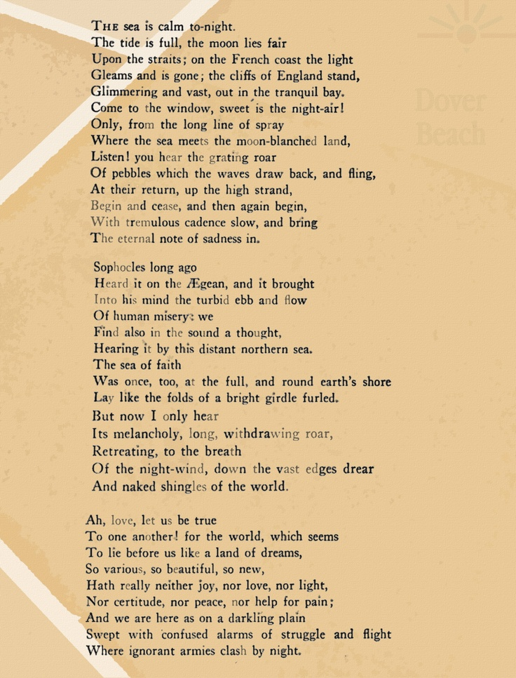 dover beach poetry essay Dover beach is a lyric poem by the english poet matthew arnold it was first published in 1867 in the collection new poems, but surviving notes indicate its composition may have begun as early as 1849.