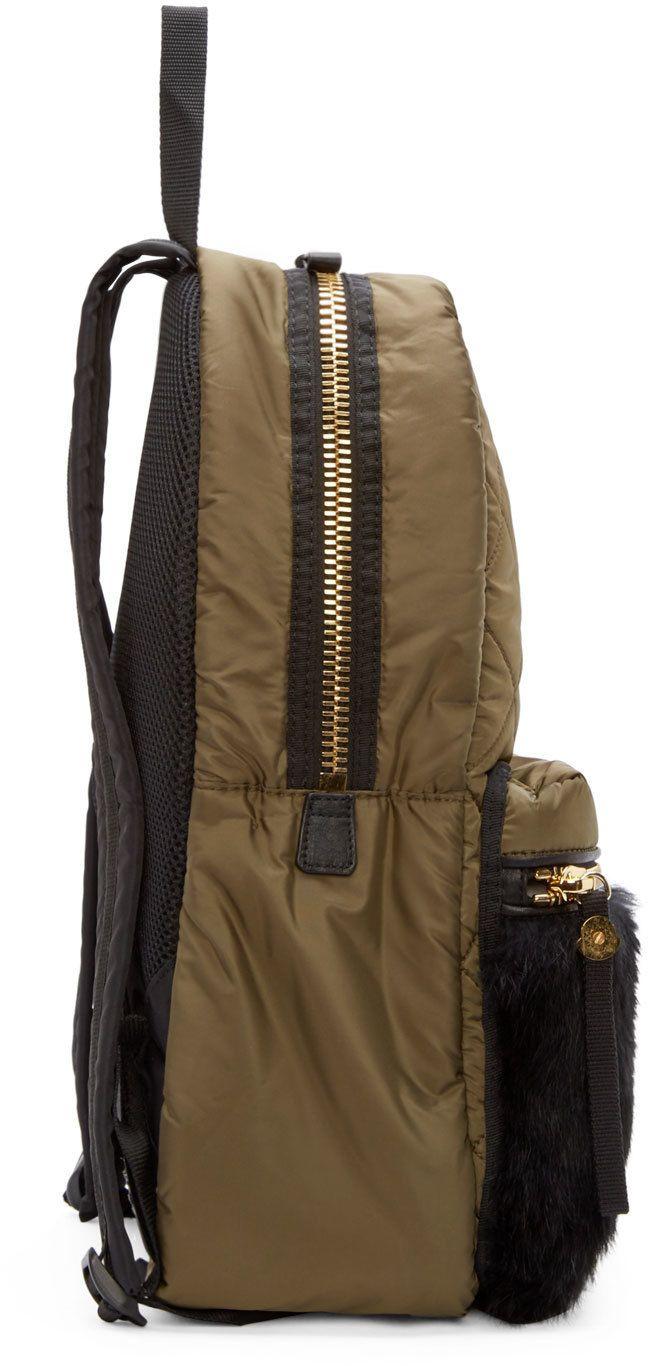 Moncler Olive Fur-Trimmed Gigi Zano Quilted Backpack