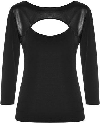 Liz Collection Cut Out Front Pleather Trim Top $99.95 AUD  3/4 sleeve jersey knit top with pleather detail and front cut out 94% Polyester 6% Spandex Trim: 100% Polyurethane  Item Code: 046785