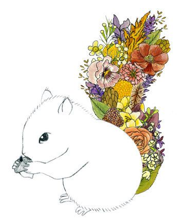 Squirrel flowers. 8x10 print by ChipmunkCheeks on Etsy