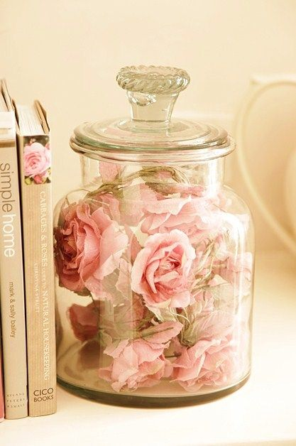 Simply Shabby Chic idea. LOVE IT!! Perfect way to keep fake flowers looking beautiful and dust free...in a glass jar!                                                                                                                                                      More