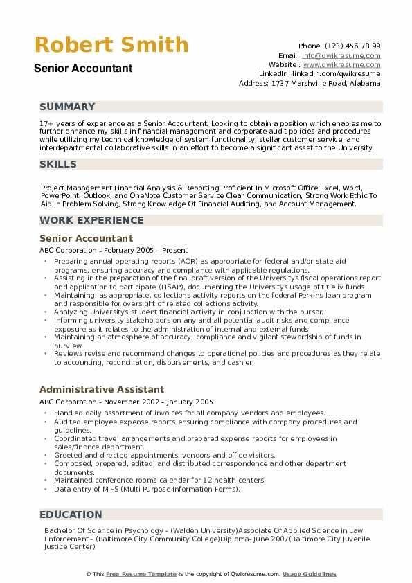 senior accountant resume samples qwikresume in 2020