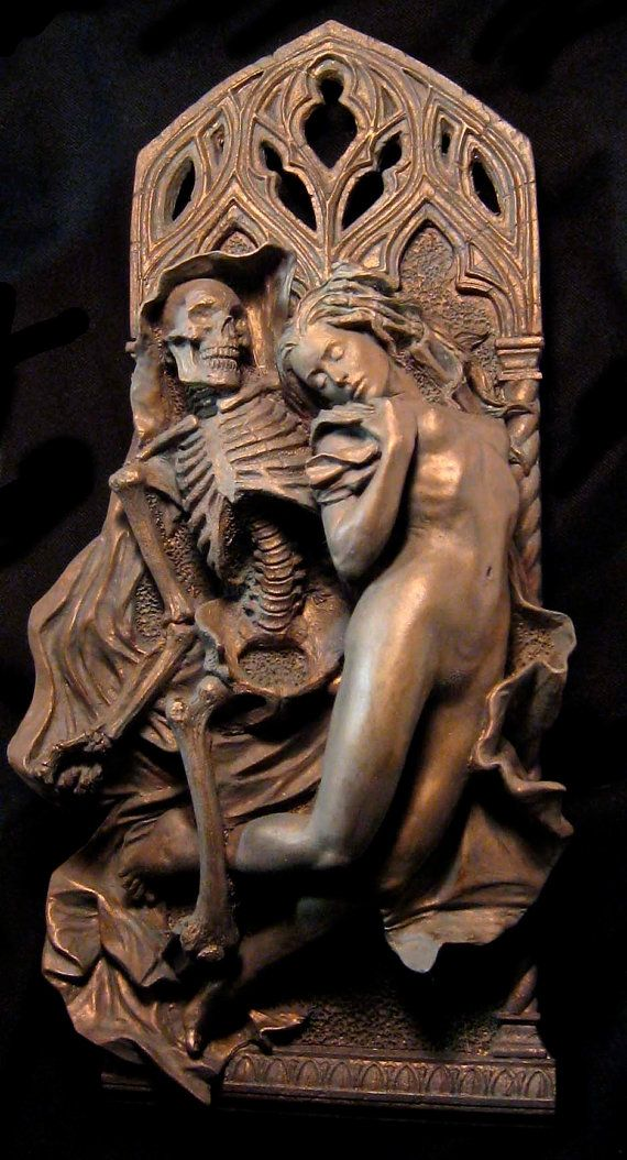 Death and the Maiden wall plaque by Dellamorte & Co. Death grim reaper Father Time scythe maiden girl woman dance danse macabre skull skeleton