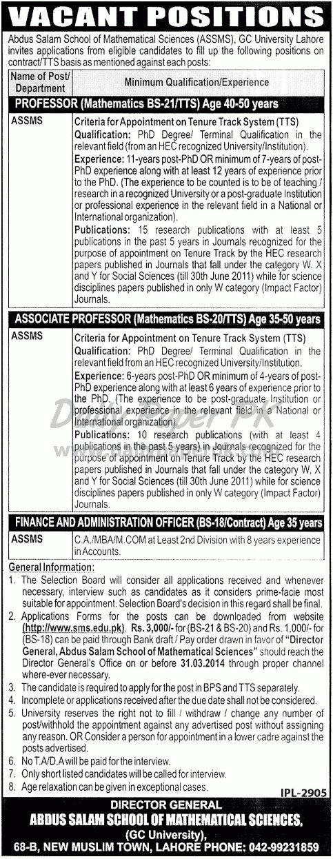 Jobs in Abdus Salam School of Mathematical Sciences - GC University Lahore For details and how to apply: http://www.dailypaperpk.com/jobs/207254/jobs-abdus-salam-school-mathematical-sciences-gc-university-lahore