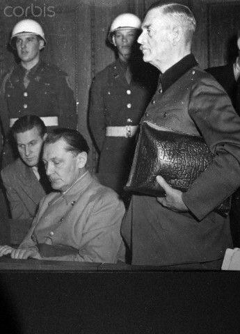 Nazi regime war criminals Hermann Göring and Wilhelm Keitel during the Nuremberg Trials in 1946 in front of the International Military Court of Justice. Photo: Yevgeny Khaldei
