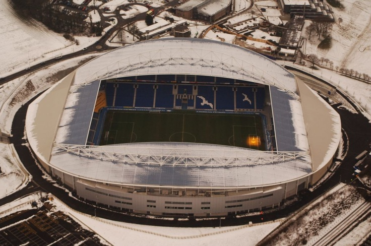 Brighton and Hove Albion's new Amex Stadium in the snow  photo from www.northstandchat.com