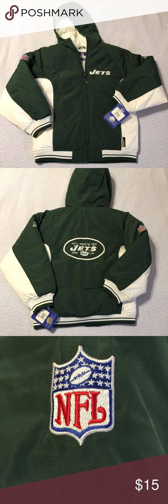 NFL Jets Puffer Jacket NFL Jets Puffer Jacket- Team colors green and white. Great Gift! Has NFL patch on right arm and Reebok patch on left. Tag says size 10-12. New, never worn, NWT Reebok Jackets & Coats Puffers