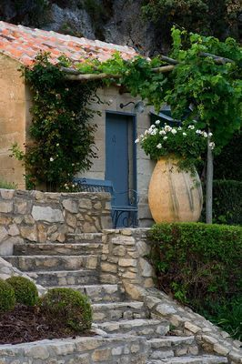 stairs, blue door. DESIGNER DOMINIQUE LAFOURCADE, PROVENCE, FRANCE - PROVENCAL…