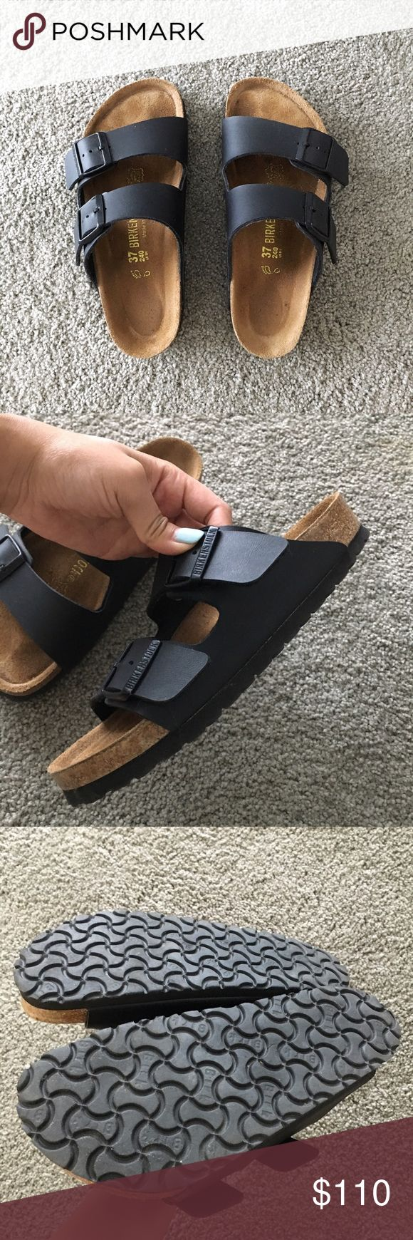 Black Arizona Birkenstock Sandals Excellent condition black Birkenstock Arizona double strap sandals. Black on black and only worn a couple times. Size 37 and L6 - I'm a 6.5 and they fit me well. Please look online for sizing on Birkenstocks. These are so comfy and you'll have them for years! No trades ❤ Birkenstock Shoes Sandals