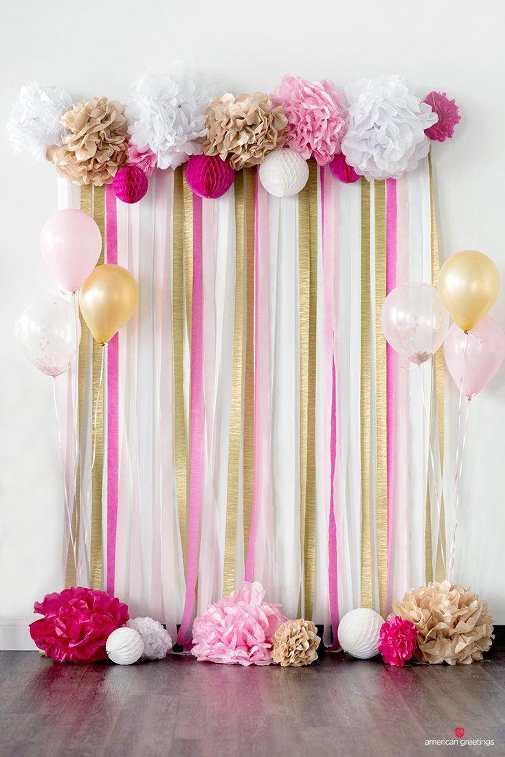 Birthday Party DIY Baby Pink /& Red Tissue Paper Pom Pom Set Engagement Decoration