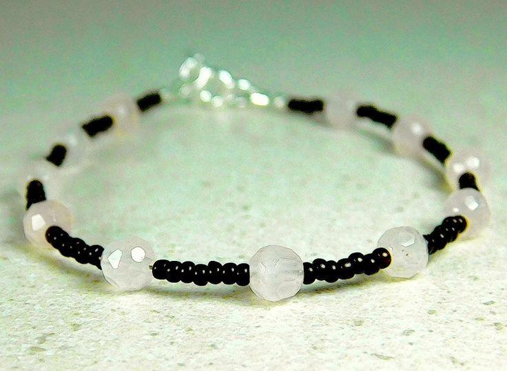 Rose Quartz bracelet, gemstone and seed bead bracelet by jljewellerydesign on Etsy