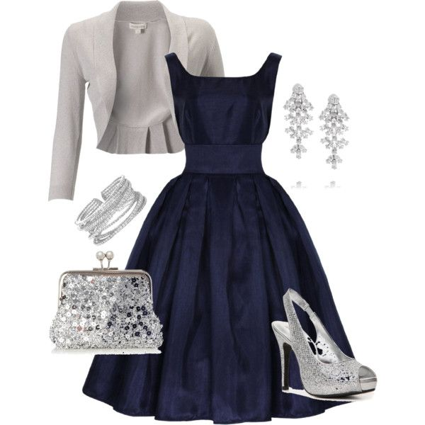 "NYC wedding if I go the ""Silver route"" navy strapless gown, silver clutch, silver statement necklace, silver SWs"