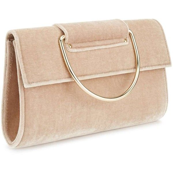 Miss Selfridge Nude O Ring Clutch Bag ($42) ❤ liked on Polyvore featuring bags, handbags, clutches, nude, velvet clutches, beige clutches, nude handbags, velvet purse and beige purse