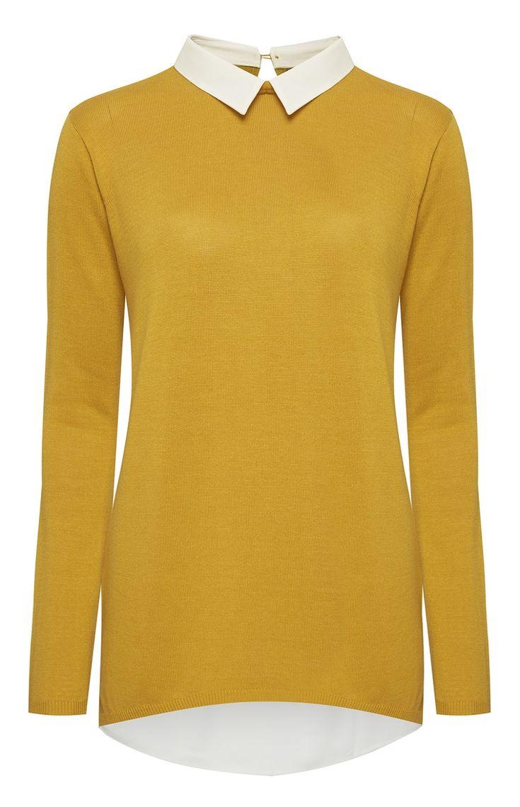 Primark - Camisola mostarda com gola de camisa cosida