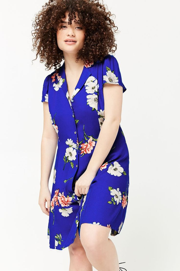 Product Name:Plus Size Floral Print Shirt Dress, Category:plus_size-main, Price:22.9