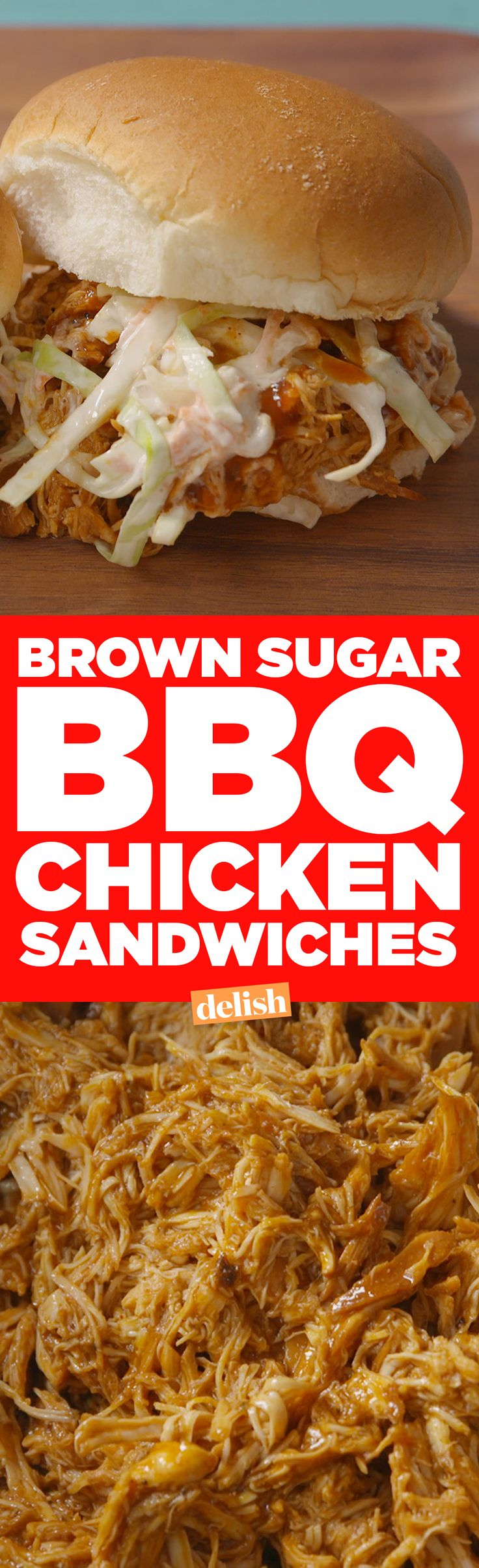 These Brown Sugar BBQ Chicken Sandwiches let your slow cooker do all the work on game day. Get the recipe from Delish.com.