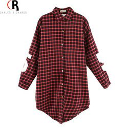 Monogrammed Sleeves Plaid Long Oversized Loose Shirt W/ Back Letter and Numbers Print