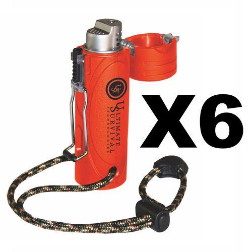 Ultimate Survival Technologies Trekker Stormproof Lighter, Orange (6-Pack)