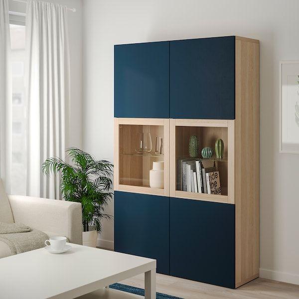 Besta Combinaison Rangement Ptes Vitrees Effet Chene Blanchi Notviken Bleu Verre Transparent 120x42x192 Cm Ikea Amenagement Salle A Manger Ikea Glass Door