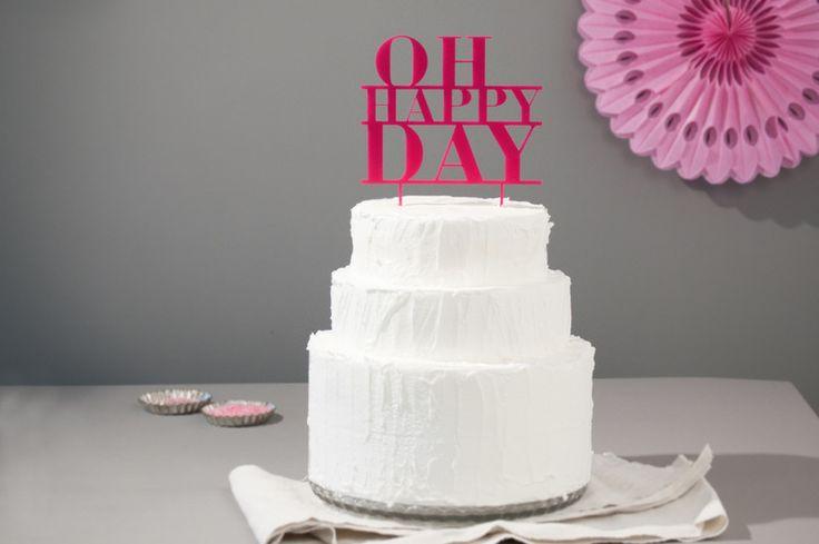 Cake Topper, Hochzeitstorte, Oh Happy Day, pink von Lucky You auf ...