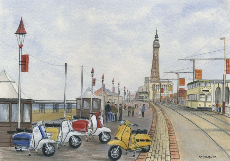 """006MM080 - The Italian Job visits Blackpool - 16"""" x 12"""" Print Only £12.99 9.5"""" x 6.5"""" Mounted to 14"""" x 11"""" - £12.99"""