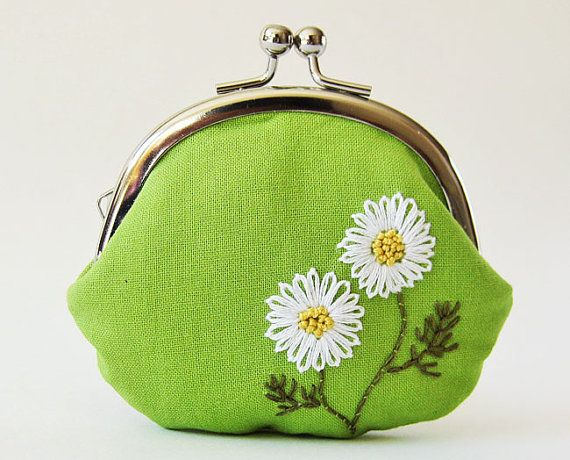 coin purse white daisies on grass green by oktak on Etsy, $36.00