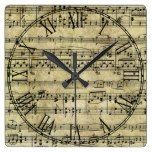 Victorian Music Sheet Wallpaper Square Wall Clocks  #clocks #Music #RusticClock #Sheet #Square #Victorian #Wall #Wallpaper The Rustic Clock