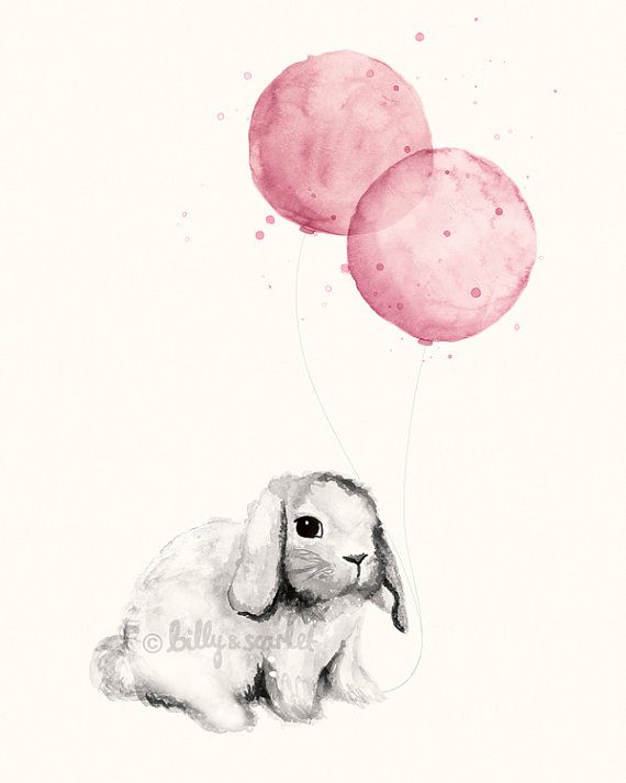 Baby Girl Nursery Print 8x10 / A4, Rose Pink Shabby Chic Nursery Decor, Watercolour Illustration of Bunny Rabbit and Balloons