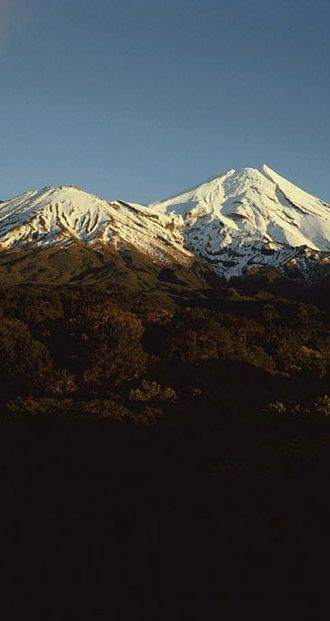Mount Taranaki, in Egmont National Park on the North Island's west coast, NZ