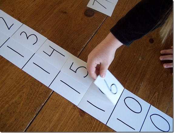 "How to make a Montessori ""teen"" board (Adding 10+ n = teen number) Take it further by adding 10 to other double digit numbers. Could make multiple sets for centers out of index cards."