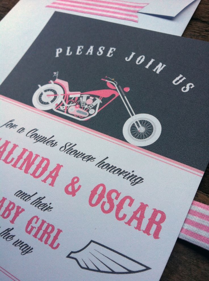 Motorcycle Baby Shower Invitations. www.naomileeman.com