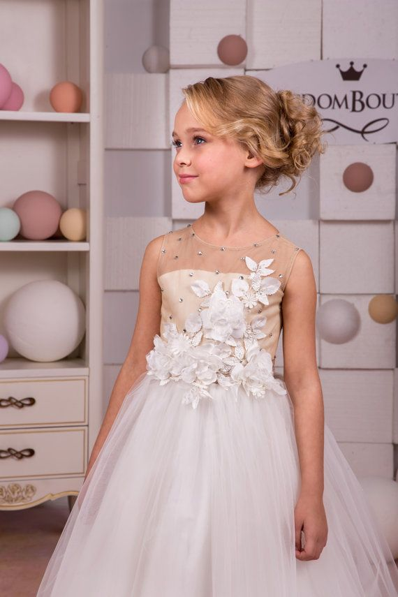Ivory and Beige Flower Girl Dress Wedding от KingdomBoutiqueUA