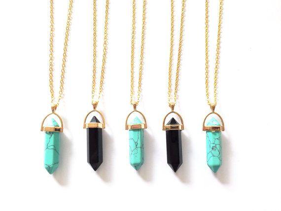 SALE Turquoise or Onyx  Round Cap Gold Crystal by KrysdollShop