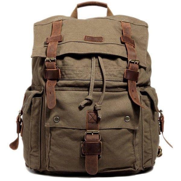 Kattee Vintage Canvas Leather Hiking Travel Backpack School Bag (1.450 UYU) ❤ liked on Polyvore featuring bags, backpacks, backpack, accessories, genuine leather backpack, canvas laptop backpack, brown backpack, vintage leather rucksack and canvas rucksack
