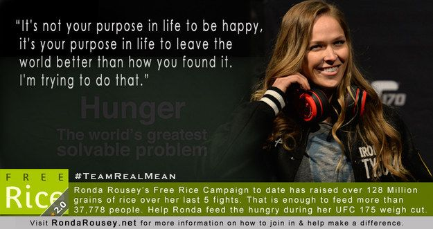 """She's a warrior in the battle against world hunger. 