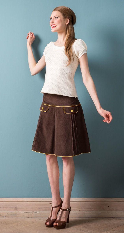 Midiröcke - Brauner Cordrock mit 60er Jahre Taschen - ein Designerstück von Peppermint_Patty bei DaWanda