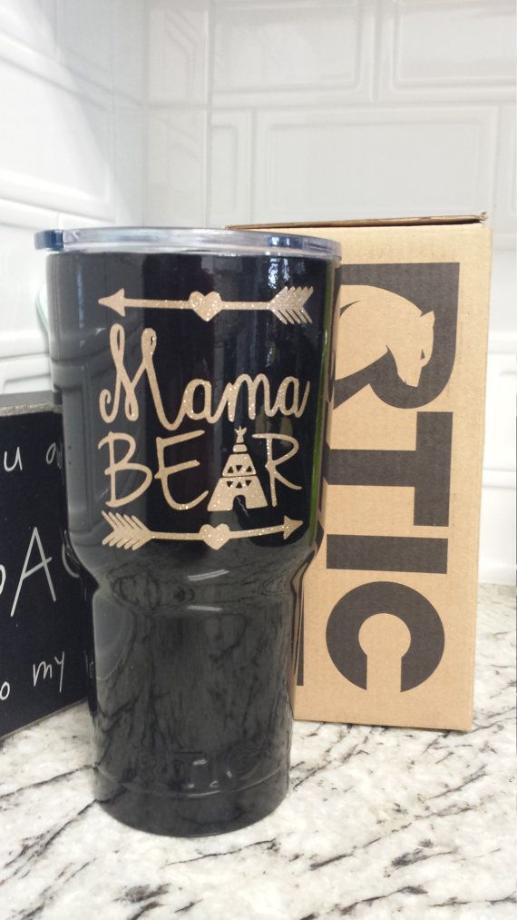 MAMA BEAR 30 oz. RTIC tumbler decal by CricketFlair on Etsy
