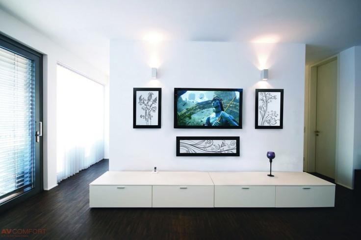 Living room, hidden audio equipment, white accessories