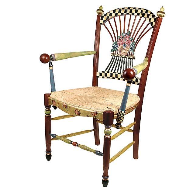 Dark Flower Basket Armchair Painted Furniture