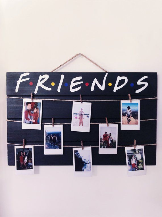Friends tv show wood polaroid sign | 17 x 10.5 black + colored dots
