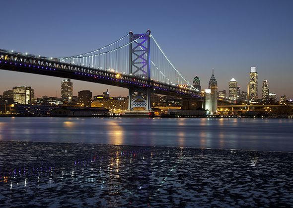 Benjamin Franklin Bridge against the Philadelphia skyline (Photograph by John Cardasis, Getty Images)
