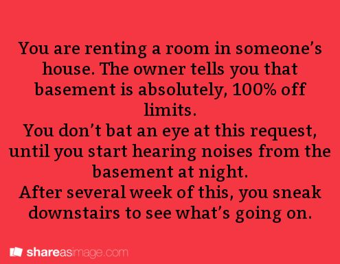 You are renting a room in someone's house. The owner tells you that the basement is absolutely 100% off limits. You don't bat an eye at this request, until you start hearing noises from the basement at night. After several weeks of this, you sneak downstairs to see what's going on.