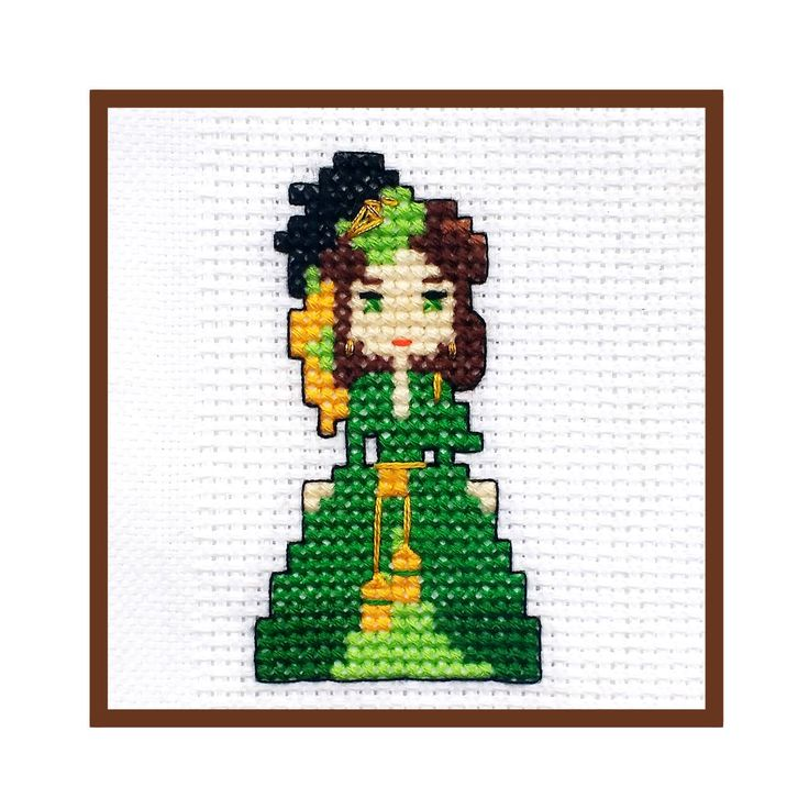 Scarlett O'Hara Green Curtain Dress Cross Stitch PDF Pattern Embroidery DIYs Gone With The Wind Cute Chibi Mini Vivien Leigh Costume Gown by LakeviewNeedlework on Etsy