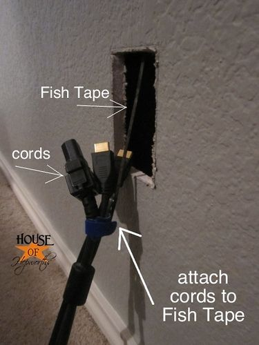 """Use Fish Tape to help """"fish"""" those cords behind a wall/furniture/whatever to hide them!"""