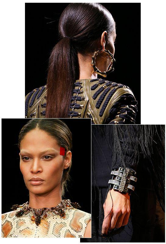 El bucle única oreja Celine, cuero y pieles de Fendi dúo, étnica Balmain criolla .
